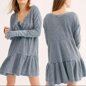 NWT Free People One Jolene Mini Dress M Blue